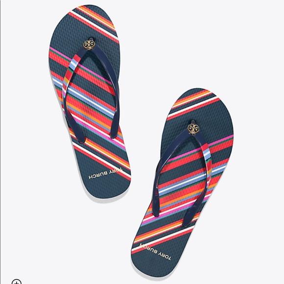 4ae6e81e1586 Tory Burch Vivid Stripe Printed Thin Flip Flop